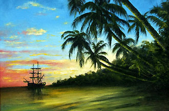 tropical sunset 16 x 20 code c